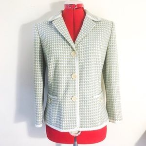Sigrid Olsen Ribbon Trim White Green Blue Blazer